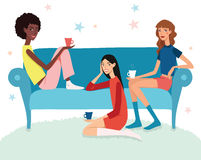 Vector Teenage Girls Tea Party Illustration With Three Pretty Friends Celebrating Eating Cake On Couch. Perfect for a Stock Photo