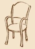 Vector tekening Houten stoel met armsteunen Stock Fotografie