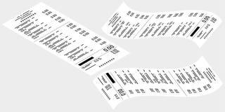 Vector tekening Reeks controles van de kassier van een grijze achtergrond Zaken, e-commerce vector illustratie