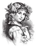 Vector tekening van mooi meisje met bloemen in haar Royalty-vrije Stock Afbeeldingen