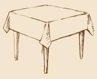 Vector tekening Vierkante lijst met tafelkleed Stock Foto's