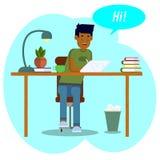 Vector tekening Werkruimteconcept De werken van de jongensstudent met een tablet De jonge man communiceert in sociale netwerken royalty-vrije illustratie