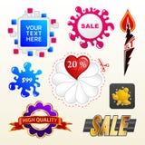 Vector tekeninzameling van het etiket van verkoopelementen Stock Foto