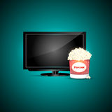 Vector television with popcorn Royalty Free Stock Photo