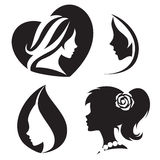 Vector template abstract logo for woman salons and shops. Royalty Free Stock Image