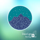 Vector: template abstract night mountain low-poly style Stock Photos