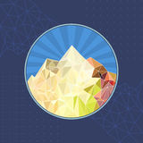Vector: template abstract sun mountain low-poly style Royalty Free Stock Photo