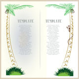 Vector template advertising tourist postcards with palm trees. Stock Photos