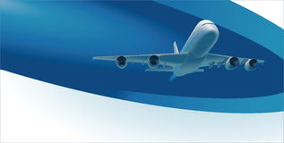 Vector template with airplane and copy space Royalty Free Stock Photo