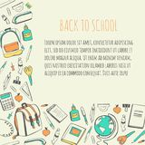 Vector card template with school supplies. Vector template Back to school with hand drawn doodle objects of college supplies. Colorful hand drawn elements on Royalty Free Stock Photo