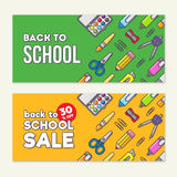 Vector template of back to school sale. School stationery icons and text. Sale poster in flat design style. Stock Photos