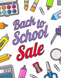 Vector template of back to school sale. School stationery icons and text. Sale poster in flat design style. Royalty Free Stock Photo