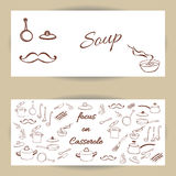 Vector template banners with kithcen tools. Vector template banners with kitchen elements. Cooking - set of casserole, frying pans and chef. Hand Dawn. Vector Stock Photos