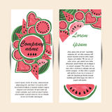 Vector template banners with watercolor paint. Watermelon background. Business card. Summer flyer design. Hand drawing. Vector illustration Royalty Free Stock Images