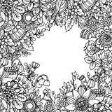 Vector template with beautiful monochrome floral pattern in dood Stock Photo