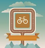 Vector template with bicycle and road. Illustration in vintage style Royalty Free Stock Photos