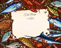 Vector template of blank paper for fish recipe Stock Photos