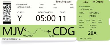 Vector template of a boarding pass ticket. In green color for traveling by aircrafts. Journey concept stock illustration