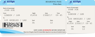 Vector template of boarding pass tickets. Concept of trip or travel royalty free illustration