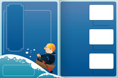 Vector template booklet. A sailor in a boat sailing on rough sea Stock Images