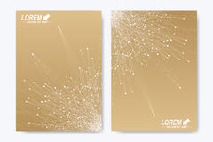 Vector template for brochure, Leaflet, flyer, advert, cover, catalog, magazine or annual report. Geometric background. Molecule and communication. Golden vector illustration