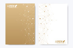 Vector template for brochure, Leaflet, flyer, advert, cover, catalog, magazine or annual report. Geometric background. Molecule and communication. Golden Stock Images