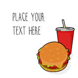 Vector template with burger and red soda cup for fast food business. Isometric cartoon style with text stock illustration