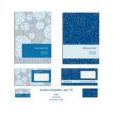 Vector template for business artworks: folder, envelope and business card. On blue floral background vector illustration