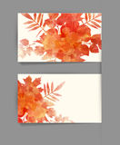 Vector template business card with autumn leaves Royalty Free Stock Photo