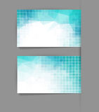 Vector template business card with blue geometric background Royalty Free Stock Images