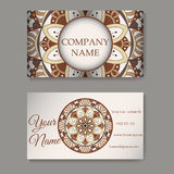 Vector template business card. Geometric background. Card or invitation collection. Islam, Arabic, Indian, ottoman motifs. Vector template business card Royalty Free Stock Photo