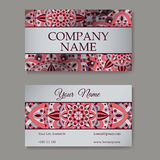Vector template business card. Geometric background. Card or invitation collection. Islam, Arabic, Indian, ottoman motifs. Vector template business card Stock Images