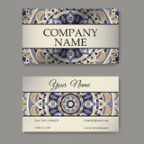 Vector template business card. Geometric background. Card or invitation collection. Islam, Arabic, Indian, ottoman motifs. Vector template business card Stock Photos