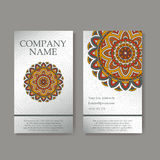 Vector template business card. Geometric background. Card or invitation collection. Islam, Arabic, Indian, ottoman motifs. Royalty Free Stock Image