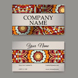 Vector template business card. Geometric background. Card or invitation collection. Islam, Arabic, Indian, ottoman motifs. Stock Photos