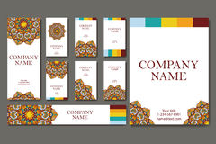 Vector template business card. Geometric background. Card or invitation collection. Islam, Arabic, Indian, ottoman motifs. Royalty Free Stock Images