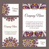 Vector template business card. Geometric background. Card or invitation collection. Islam, Arabic ottoman motifs Royalty Free Stock Images