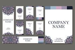 Vector template business card. Geometric background. Card or invitation collection. Islam, Indian ottoman motifs Royalty Free Stock Image