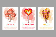 Vector template for business card with hand drawn candy sweets. Food shop poster. Brochure with lollipop, gum, nicy Royalty Free Stock Image
