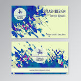 Vector template business cards. With paint splash background Royalty Free Stock Photography