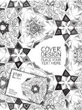 Vector template for business design: folder and business card with ethnic ornament. Black and white stock illustration