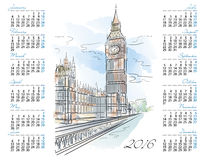 Vector template of 2016 calendar with Big Ben. Vector illustration Royalty Free Stock Photo