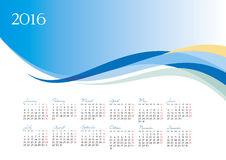 Vector template of 2016 calendar on blue background. Vector illustration Stock Photo