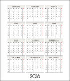 Vector template calendar grid for 2016 Stock Photo