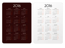 Vector template calendar grid for 2016 Royalty Free Stock Image