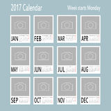 Vector template of 2017 calendar with place for photo. Royalty Free Stock Photo