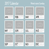 Vector template of 2017 calendar with place for photo. Royalty Free Stock Photography