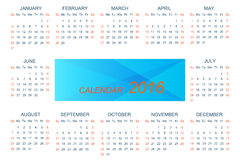 Vector template calendar 2016 . Week starts with sunday.  vector illustration