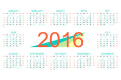 Vector template calendar 2016 years. Week starts with sunday.  stock illustration
