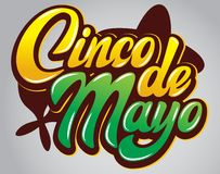 Vector template with calligraphic lettering for celebration Cinco de Mayo.  stock illustration